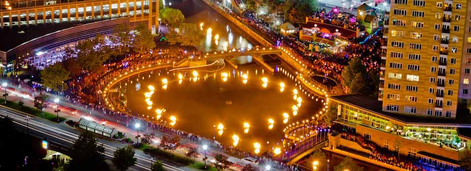 WaterFire Aerial (Photo by David Amadio)