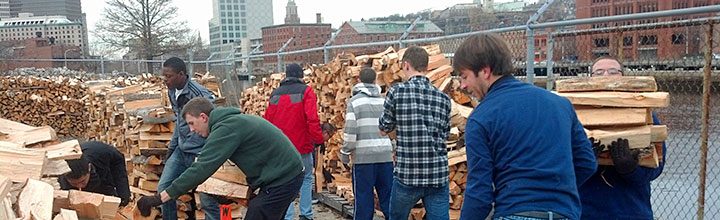 JWU Men&#8217;s Tennis Team joins WaterFire for a Woodpile Workout