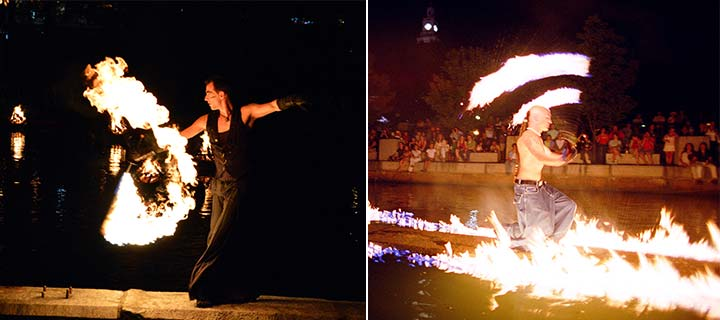 Ben Reynolds & Spogga spinning fire. Photos by Jennifer Bedford & Thomas Payne.