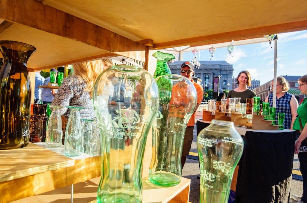 Riker Art Glass at the WaterFire Arts Festival Plaza. Photo by Jeffrey Stolzberg.
