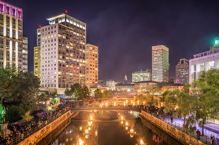 WaterFire illuminates the Providence skyline. Photo by Jennifer Bedford.