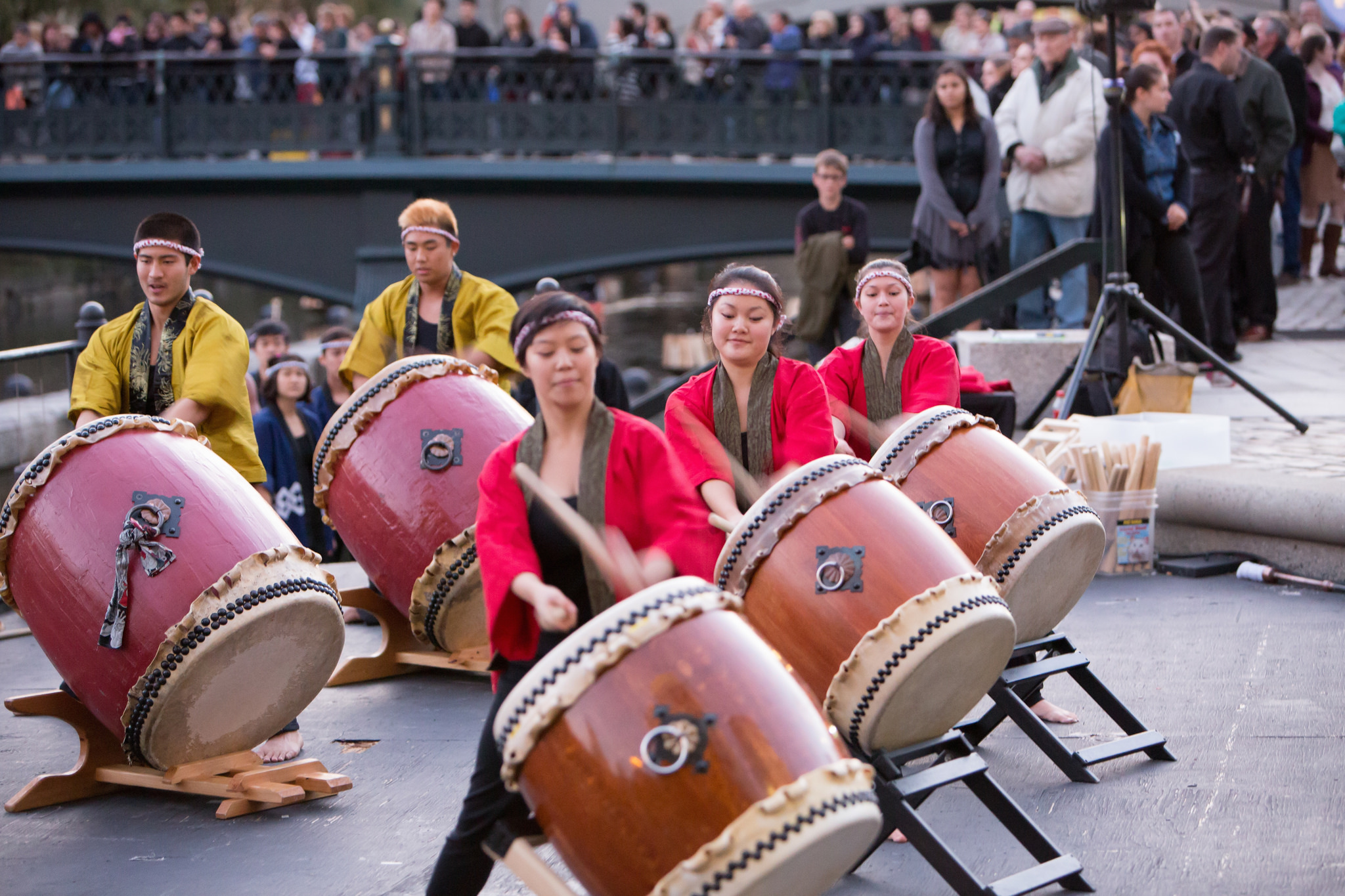 Gendo Taiko performs on the Waterplace Basin Stage. Photo by Kevin Murray.