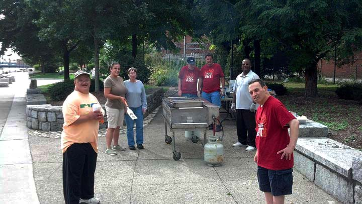 Fogarty Center residents and staff prepare a delicious lunch for WaterFire's staff and volunteers.