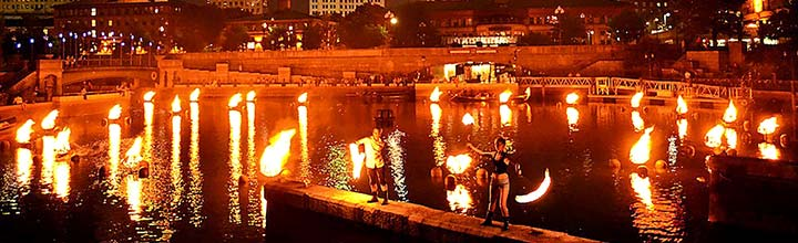 Fire Dancers in Waterplace Basin, photo by John Simonetti