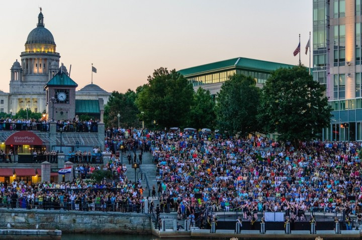 The crowd in the Waterplace Park basin, photo by Jennifer Bedford.