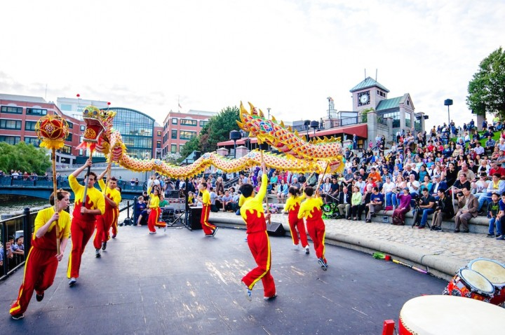 Chinese Dragon performance on the Waterplace Basin Stage. Photo by Jeffrey Stolzberg.