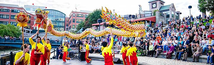 Dragon Dance performance on the Waterplace Basin Stage. Photo by Jeffrey Stolzberg.