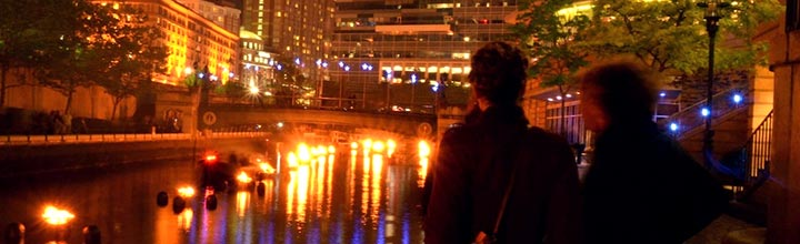 Visitors at WaterFire. Photo by Todd Monjar.