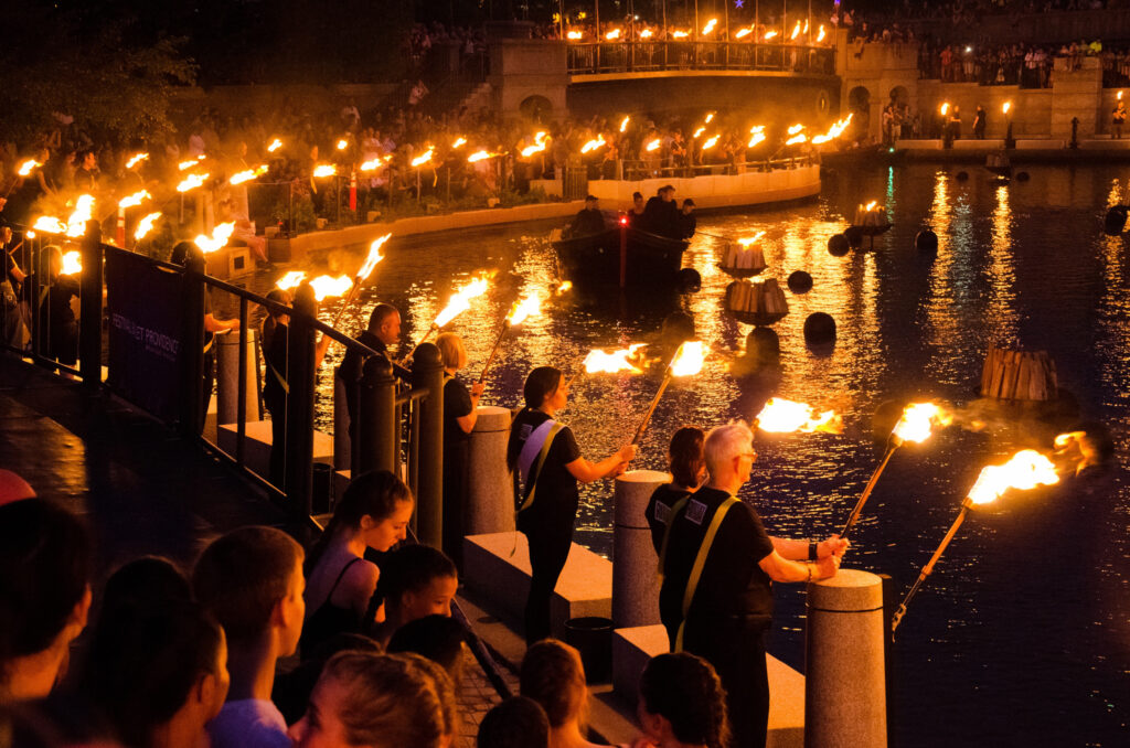 Ring of Fire Torch Ceremony in Waterplace Basin. Photo by Tom Lincoln.