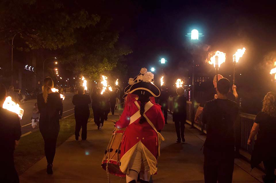 Gaspee Day torch procession led by WaterFire volunteers. Photo by Emily Chadwick.
