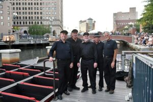 WaterFire Guest Boat Captains on the Dock, Steven is second from the right. Photograph by Luis Andrade.