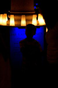 Luminaria at the WWII Memorial. Photograph by Emily Gauvin.