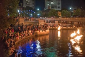 The crowd in the enjoying the event in the basin, photograph by Jen Bonin.