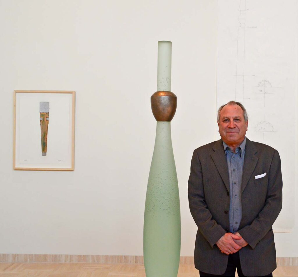 "Howard Ben Tré at the opening of ""Lightness of Being, New Sculpture, Howard Ben Tré"" at the Marshall M. Fredericks Sculpture Museum in 2013."