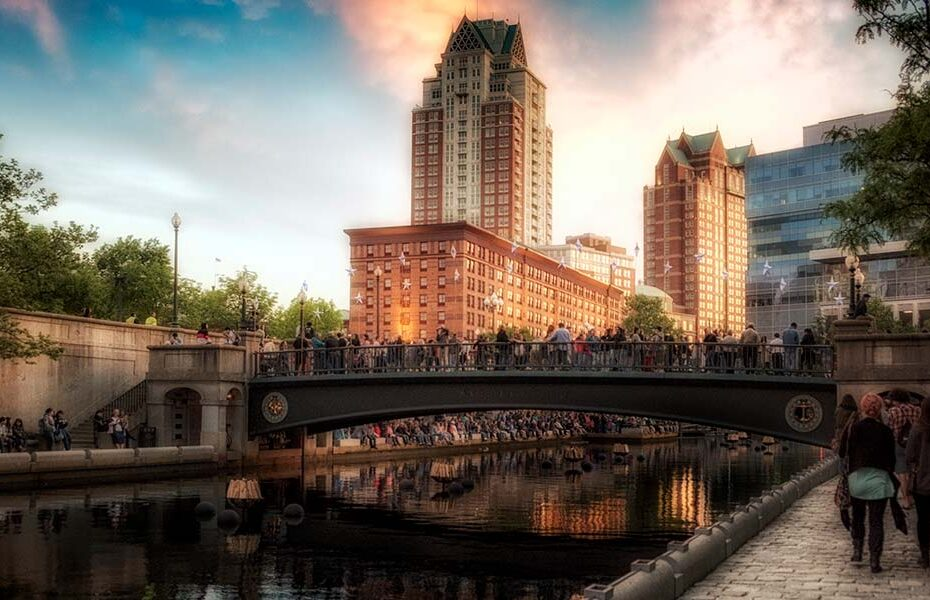 WaterFire at Sunset, photograph by Laura Paton.