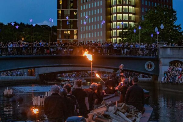 Boat Procession at WaterFire. Photograph by Kevin Murray.