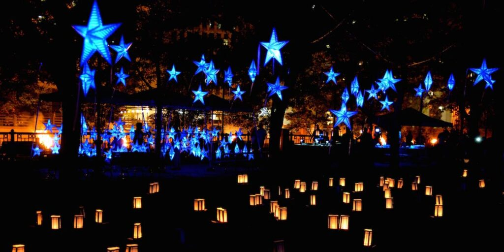 The Starry, Starry Night installation at WaterFire. Photograph by John Nickerson.