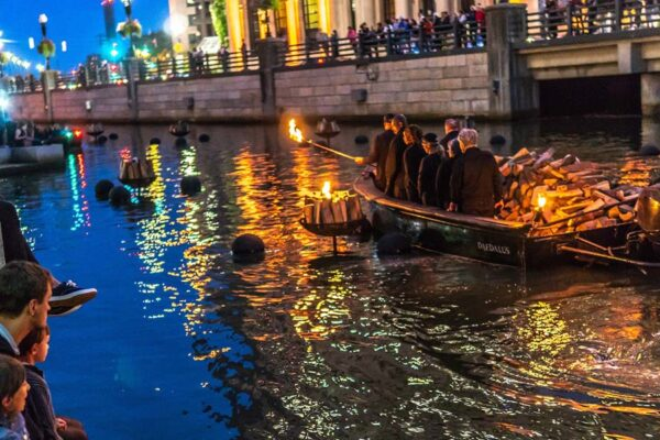 WaterFire fire tenders. Photograph by Tom Backman.