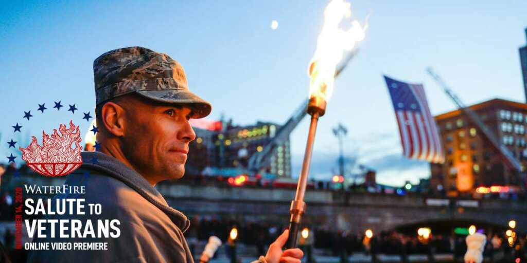 2020 WaterFire Salute to Veterans Cover Photo. Photograph by Laura Paton.