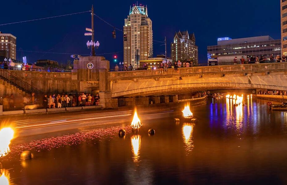 Braziers and rose petals at WaterFire. Photograph by Armin Kososki.